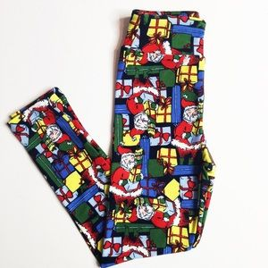 💕 LuLaRoe NWOT Tween leggings Santa's workshop